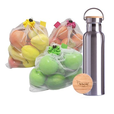 Mesh Bags + Stainless Steel Thermos